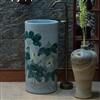 Greenville Freestanding Pedestal Cylinder Ceramic Wash Bathroom Sink with Faucet in Blue Finish with Flower Painted Design