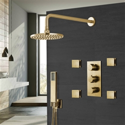 Brushed Gold Rainfall Shower Set with Handheld Shower