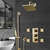Brushed Gold Square Rainfall Shower Set with Handheld Shower
