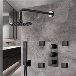 Dark Oil Rubbed Bronze Finish Rainfall Shower Set with Handheld Shower