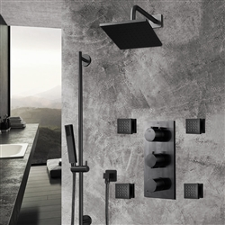 Dark Oil Rubbed Bronze Finish Square Rainfall Shower Set with Handheld Shower