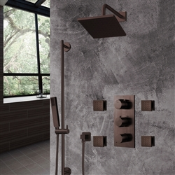 Light Oil Rubbed Bronze Square Rainfall Shower Set with Handheld Shower