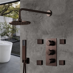 Light Oil Rubbed Bronze Finish Rainfall Shower Set with Handheld Shower