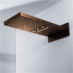 BathSelect LED Light Oil Rubbed Bronze Waterfall/Rainfall Shower Head