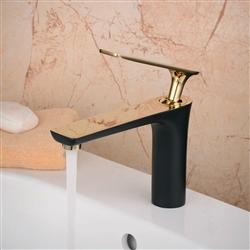 Milan Single Handle Polished Gold Long Reach Spout Black Painting Bathroom Faucet