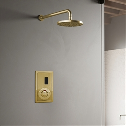 Wall Mount Brushed Gold Sensor Controlled Automatic Shower Set