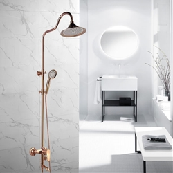 Dijon Rose Gold Wall Mounted Bathroom Rain Shower Set