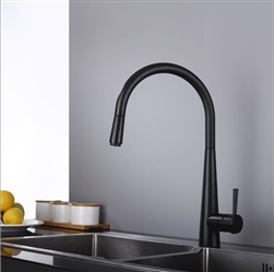 Bollnäs Matte Black High Arc Deck Mounted Pull Down Kitchen Sink Faucet