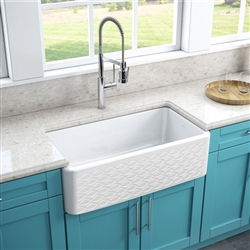 Deauville Pure White Fire Clay Farmhouse Kitchen Sink