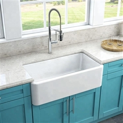 Melun White Solid Surface True Acrylic Farmhouse Kitchen Sink
