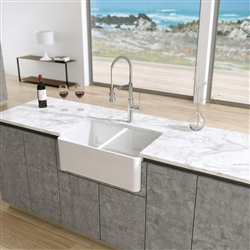 Dijon Double Bowl White Solid Surface Kitchen Sink