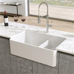 Geneva Solid Surface White Double Bowl Kitchen Basin