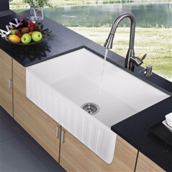 Sénart White Rectangular Artificial Stone Kitchen Sink