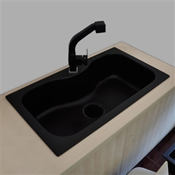 Sénart Black Color Single Bowl Artificial Stone Surface Kitchen Sink