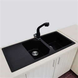 Bavaria Black European Style Artificial Stone Kitchen Sink with Drain Board