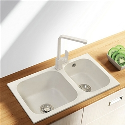 Verona White Artificial Stone Deep Kitchen Sink