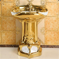 Dijon Mosaic Gold Vintage Luxurious Ceramic Pedestal Sink with Faucet