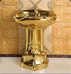 Creteil Gold Vintage Luxurious Ceramic Pedestal Sink with Faucet in Gold Finish