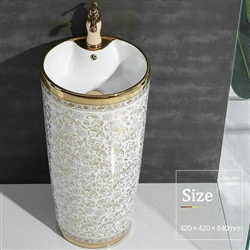 St. Gallen Round Pedestal Ceramic Bathroom Sink in White Gold Floral Pattern with Faucet