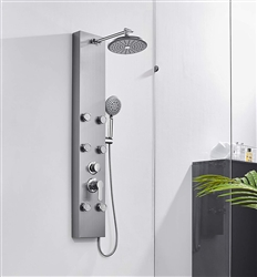 Sénart 304 Stainless Steel Shower Panel Tower System, 8-inch Rainfall Shower Head + 6 Powerful Body Massage Spray + 5 Function Handheld Showerhead, Brass Valve with Vertical Adjustable Shower Arm