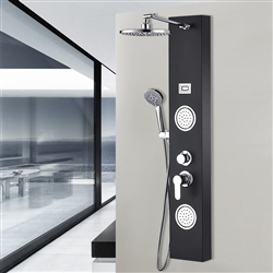 Bavaria Stainless Steel Rainfall Shower Panel Tower System, 9-inch Round Head Shower + 2 Body Massage Sprays + 3-Mode Hand Showerhead, Multi-Function Massage System with Temperature Display in Black
