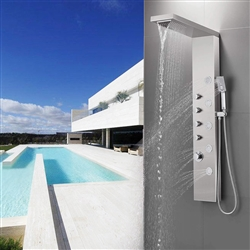 Marseille Shower Panel Tower, Rainfall Waterfall Shower Head, 5 Body Jets and 3-Function Handheld Shower, Rain Massage System, Wall-Mount Shower Column, Stainless Steel Brushed