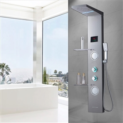 Cholet Shower Panel System Tower with Shelf, LED Rainfall and Mist Head Rain Massage Stainless Steel Shower Fixtures with Adjustable Body Jets, Brushed Nickel