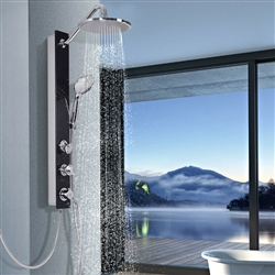 Valence Black Tempered Glass Shower Column Panel w/ Massage Jets Spout Hand & Head Shower