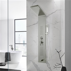 Dijon Stainless Steel Shower Panel Tower Rain & Waterfall Massage Body System with Tub Spout