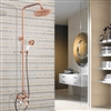 Wall Mount Rose Gold Finish Rainfall Shower Head with Handheld Sprayer and Tub Spout