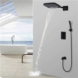 Wall Mounted Thermostatic Waterfall Rainfall Shower Head and Hand Shower Set in Matte Black