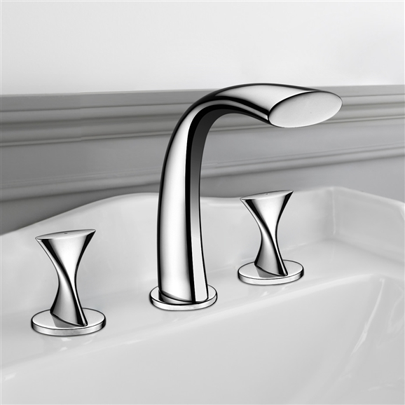 Shop Amida Chrome Finish Double Handled Bathtub Faucet At Bathselect