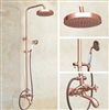 Vintage Rose Gold 8-inch Rainfall Bathroom Shower Head Dual Handle with Hand Sprayer
