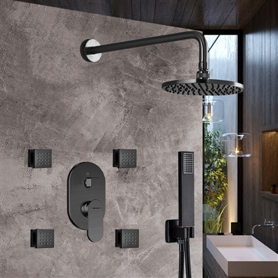 Bravat Shower Set With Valve Mixer 3-Way Concealed Wall Mounted In Dark Oil Rubbed Bronze