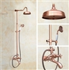 "8"" Vintage Rose Gold Wall Mounted Shower Set Faucet Dual Handle with Hand Sprayer Bathroom Shower Mixer"