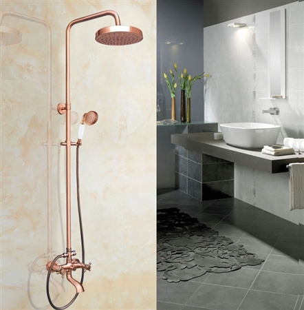 Rose Gold Vintage Exposed Tub Shower Faucets Vintage Wall Mounted Rainfall 7 7 Shower System With Handheld Shower Tub Spout In Vintage Rose Gold