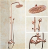 "Rainfall Shower Faucet Set Mixer Tap with 8"" Shower Head, Tub Spout and Hand Shower in Vintage Rose Gold"