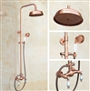 Wall Mounted Rose Gold Rainfall 8-inch Bathroom Shower System with Dual Handle and Hand Shower