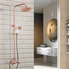 Wall Mounted Dual Handle Bathroom 8-inch Shower System with Hand Sprayer in Rose Gold Finish