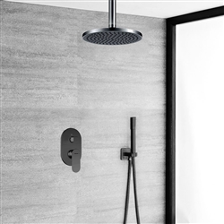 Bravat Shower Set With Valve Mixer Concealed Ceiling Mounted In Dark Oil Rubbed Bronze