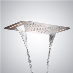 Ceiling Mounted Stainless Steel Rectangle Shower LED Light Chrome Finish Bathroom Rainfall Waterfall Shower Head Remote Controlled