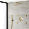 Bravat Shower Set With Valve Mixer 3-Way Concealed Wall Mounted In Brushed Gold