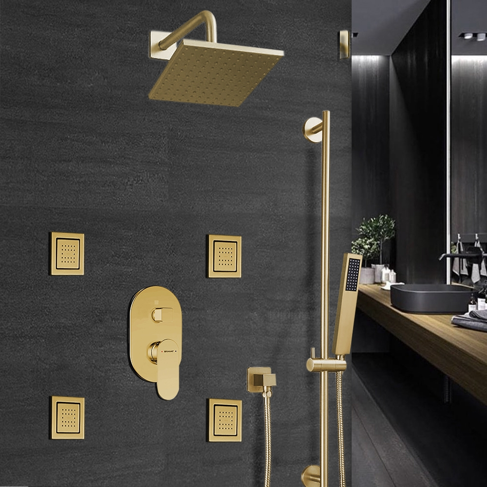 Bravat Rainfall Square Shower Head And Hand Held Shower With Stress-Free Body Jet & Thermostatic Mixer Valve In Brushed Gold Finish