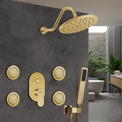 Bravat Wall Mounted Shower Head And Hand Held Shower With Stress-Free Body Jet & Thermostatic Mixer Valve In Brushed Gold Finish
