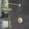 Bravat Shower Set With Valve Mixer Concealed Wall Mounted In Brushed Gold