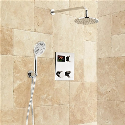 BathSelect Digital Round Rainfall Shower Set With Handheld Shower