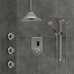 BathSelect Ceiling Mount Brushed Nickel Sensor Controlled Automatic Shower Set With Three Body Jets And Handheld Shower