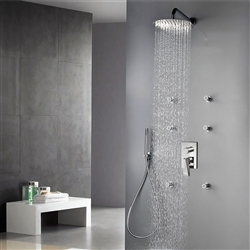 Bravat Wall Mount Chrome Shower Set With Thermostatic Valve Mixer 3-Way Concealed And Six Body Jets With Handheld Shower