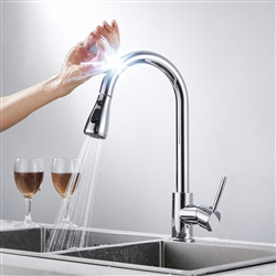 Geneva Chrome Pull Out Sensor Touch Kitchen Sink Faucet With Button For Two Way Flow