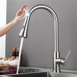 Melun Single Handle Gooseneck Sensor Touch Kitchen Sink Faucet With Pull Out Sprayer in Brushed Nickel Finish